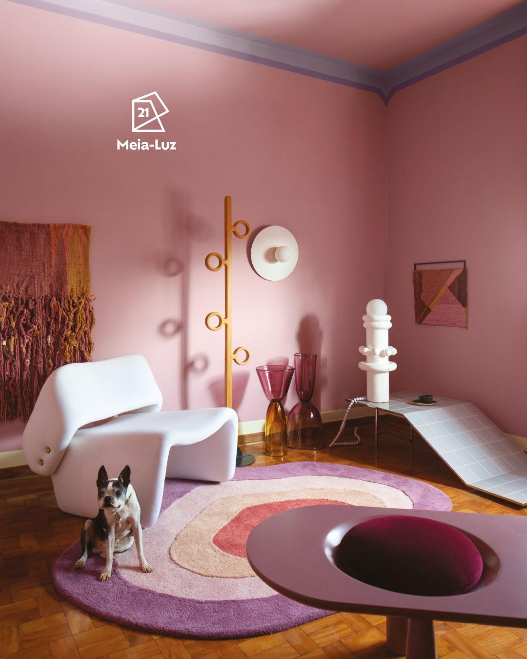 A foto apresenta uma sala  com parede pintada na cor Meia-Luz com o ícone de cor e decorada com  tapeçaria. À esquerda, uma poltrona branca, tapete colorido com cachorro  sentado em cima e mancebo. Uma mesa orgânica, vasos e luminária aparecem  à direita