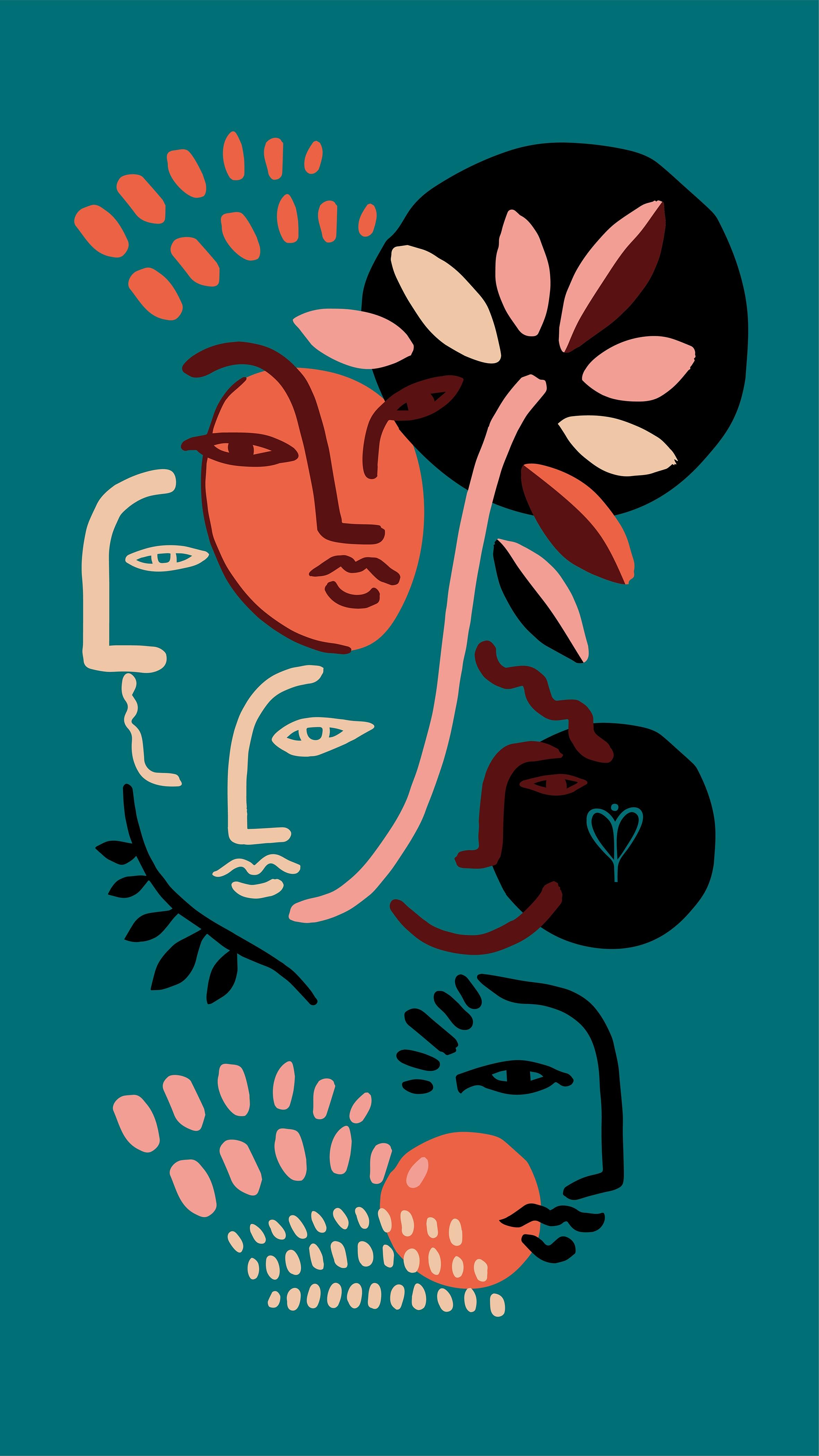 Arte de Joana Lira com cores fortes e contrastantes com um rosto no meio