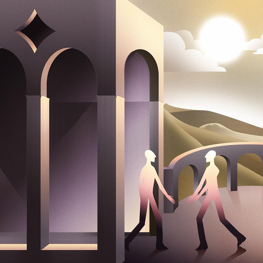 Arte digital feita por e Tito Benicio. Arte com cores contrastantes e dois corpos segurando a mão um do outro.