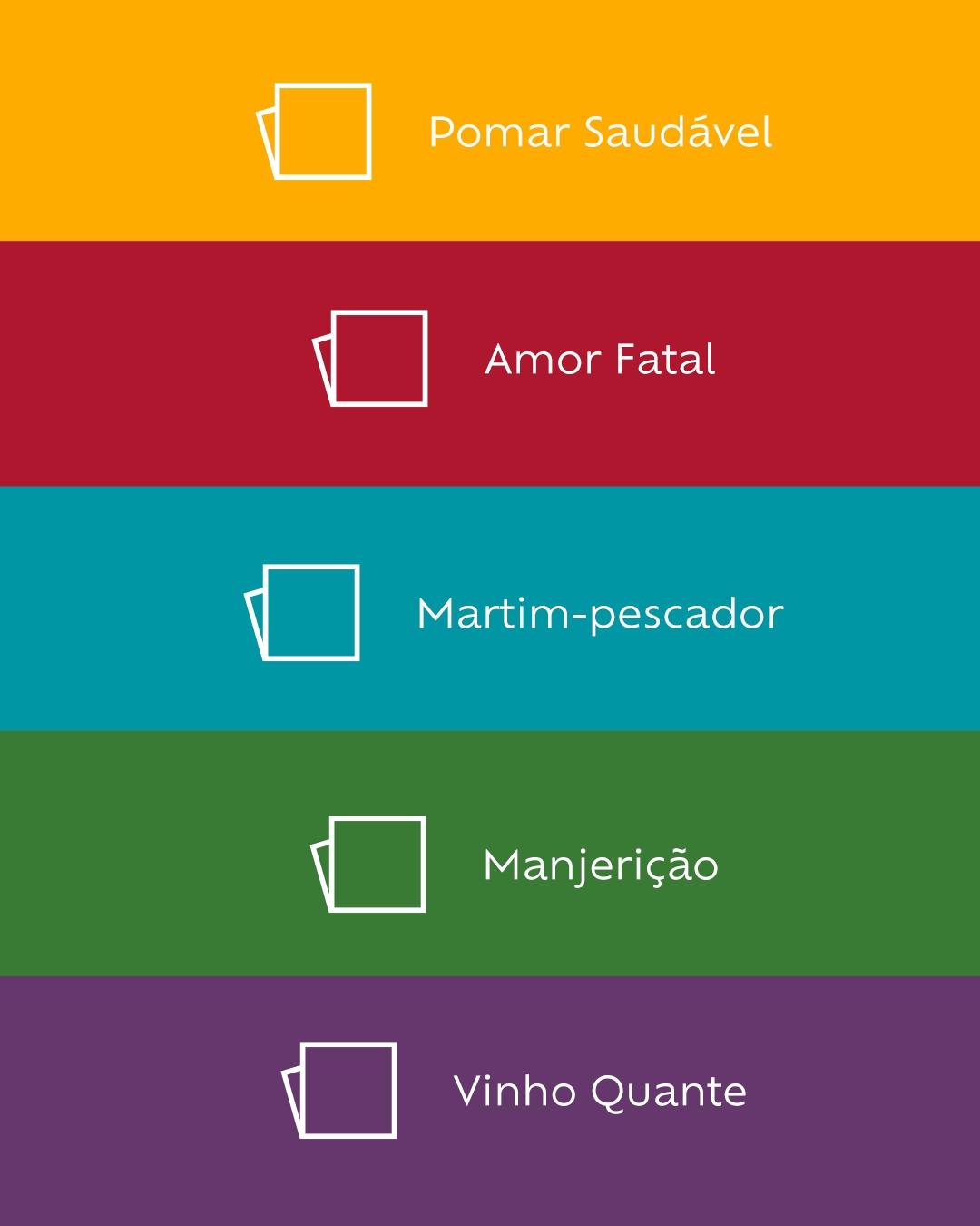 Foto com uma coleção de paletas de cores: pomar saudável, amor fatal, marfim-pescador, manjericão e vinho-quente.