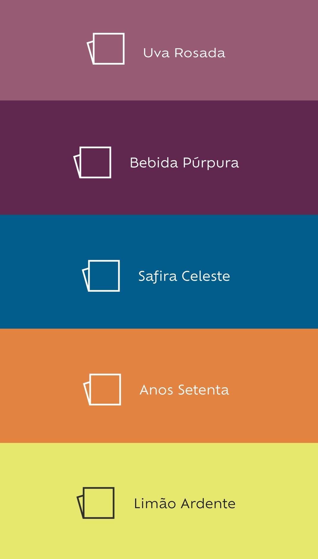 Foto com paleta de cores Suvinil:Uva rosada, Bebida Púrpura, Safira Celestial, Anos Setenta, Limão Ardente.