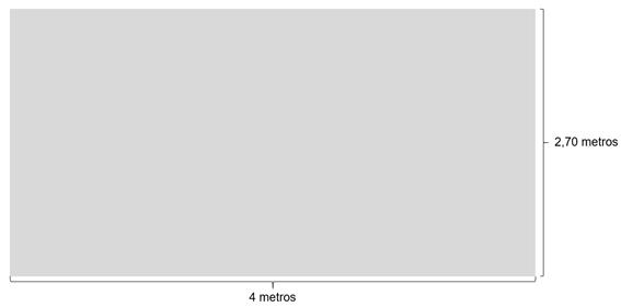 Imagem ilustrativa de uma parede com dimensões de 2,70 metros de altura por 4 de comprimento.