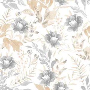 Bobinex Uau! Painel Floral Aquarela Bege e Cinza