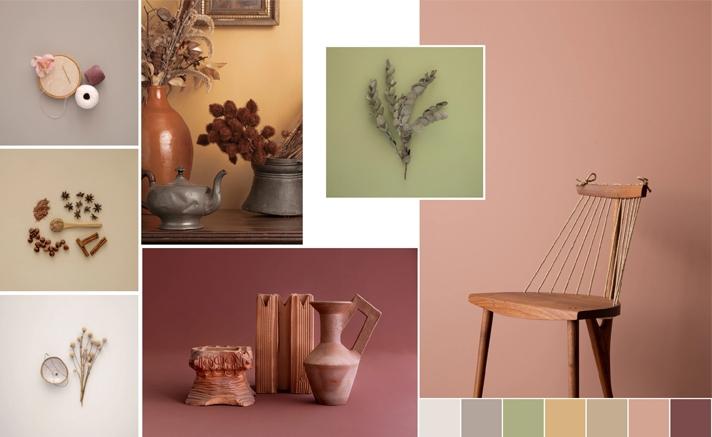 Amostra de tons suaves Suvinil com elementos decorativos.