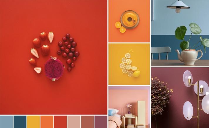 Tons de laranja, vermelho e roxo dispostos com elementos que definem suas cores.