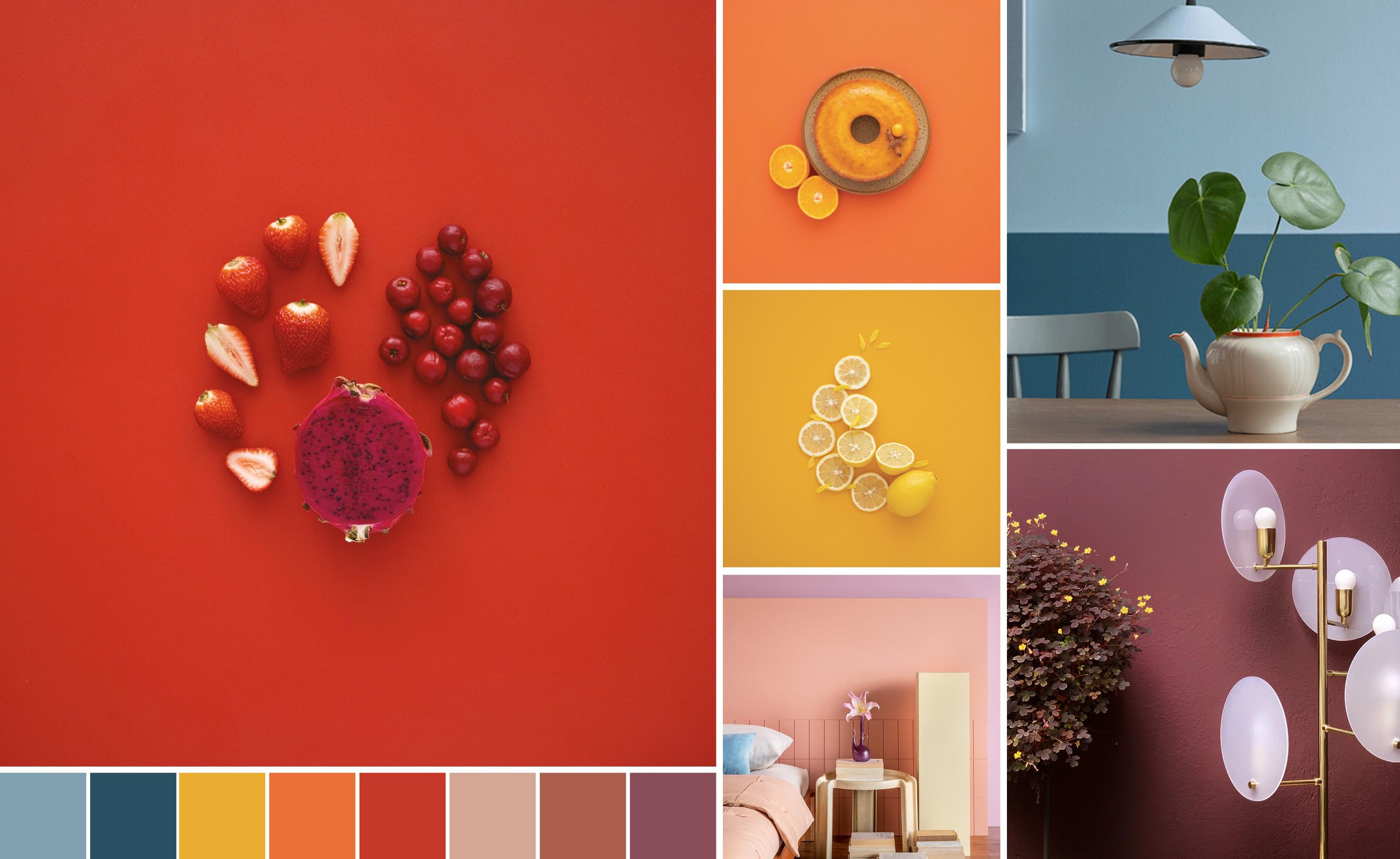 Tons de laranja, vermelho e roxo com elementos das suas cores mostrando como tons intensos e coloridos podem ser combinados entre si.