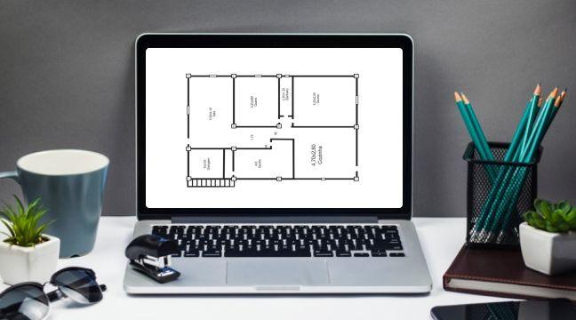 Ferramenta Digital mostrando a planta da sua casa para melhor projetar a reforma.