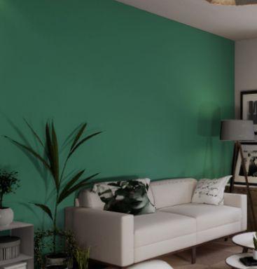 Pintura Virtual: parede pintada com um tom de verde digitalmente.
