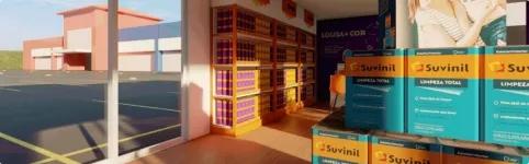 Ilustração de loja Suvinil conceito com destaque para Suvinil Lousa e Cor e Suvinil Limpeza Total.