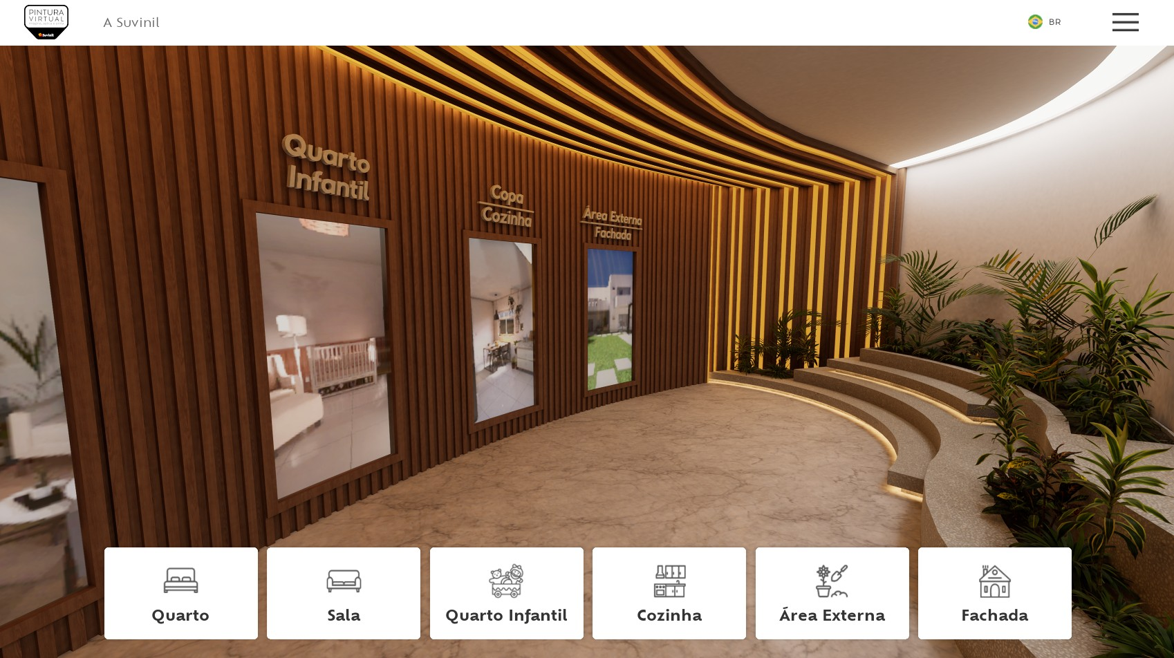 Hall para seleção de ambiente no Pintural Virtual.