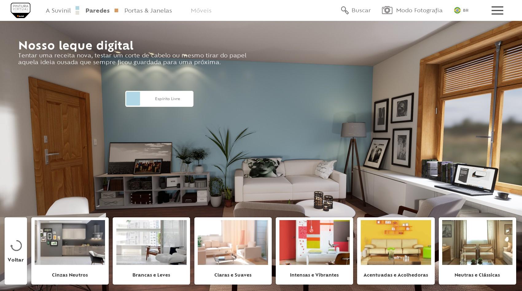 Leque Digital Suvinil com a seleção de familia de cores no Pintura Virtual.