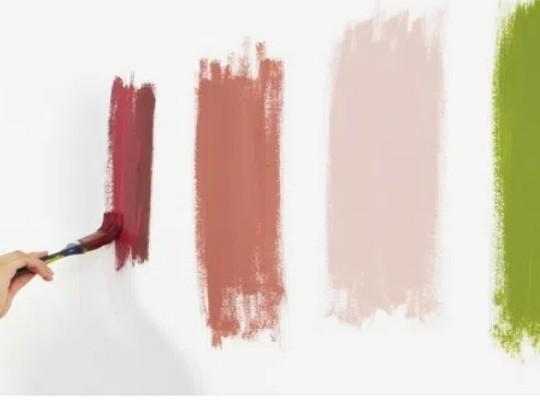 Parede pintada com pequenas quantidades do Teste Sua Cor versão tinta nos tons verde, rosa e terracota, mostrando como é simples testar o tom certo no seu ambiente.